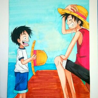 #海贼王手绘#你好,小时候!别忘了最初的梦想。#我的马克笔画##我爱画画#
