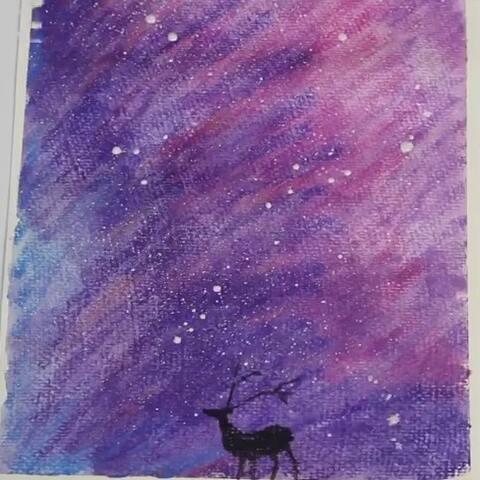 幼儿油画棒绘画教程,三分钟画出一幅漫天星空