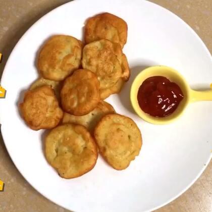 #土豆饼#软软的绵绵的😆香香的#街边小吃#简单吧~~没有裱花袋的宝贝可以用勺子挖到锅里哟~~~😝#土司的n种吃法#