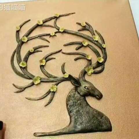 手工 超轻粘土 diy粘土画 粘土仿铜装饰画 手工视频 冬眠的猫喵喵的美拍