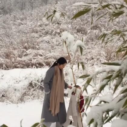二宝跟妈妈冒雪上终南山