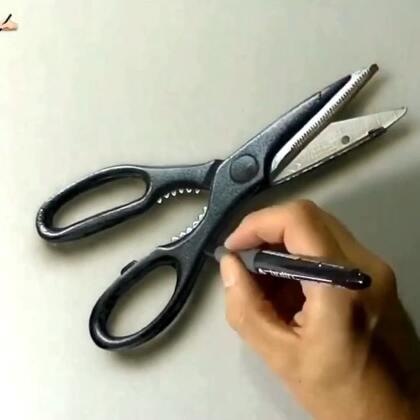 好逼真的剪刀。 By Marcello Barenghi
