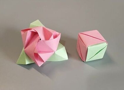 折纸魔术玫瑰花,看似一个魔方,打开就能变成一朵玫瑰花,超级酷炫,BGM:执迷,#手工##diy##折纸#