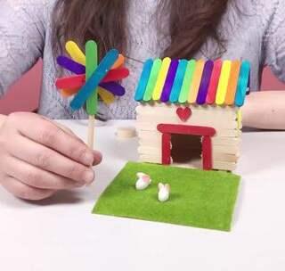 做手工雪糕棍制作小兔子乖乖房子教程雪糕棍手工制作大全玩具视频