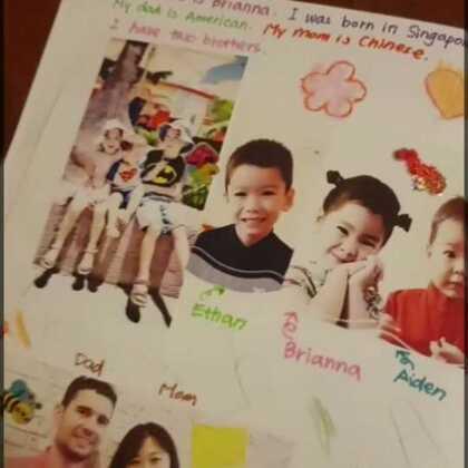 """娜娜的""""作业""""。每周老师会发给小朋友们照片,学习游戏的资料和他们在学校做好的手工和图画,让孩子们回家和家人分享,家人和朋友也可以添上各种内容,让这个本子丰富起来!这周我们主要设计了""""我的家庭"""",我准备好素材,等哥哥上跆拳道课的时候我们一起完成 #宝宝#"""