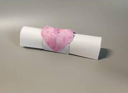情书不要再放信封啦,折一个爱心信封筒,好看又文艺,女生都喜欢,BGM:澄空学园校歌,#手工##diy##折纸#