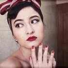 50年代美式复古妆容|烈焰红唇的美。眼窝画法、修容、欧美眉、发型都有讲到;这次发型绑丝带的灵感是来自#水形物语#女主 #高颜值#