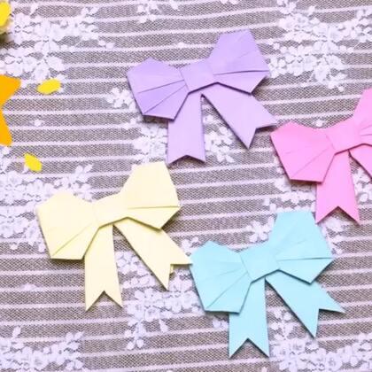 可爱的蝴蝶结折纸,平时我们给礼物的时候,可以用蝴蝶结装饰礼物包装,这样可以更精致哟!速度有点快,可以暂停看哟!#手工#