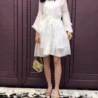 白色公主喇叭袖V领雪纺连衣裙#穿秀@我要上热门##穿衣搭配##时尚衣服搭配#@美拍小助手