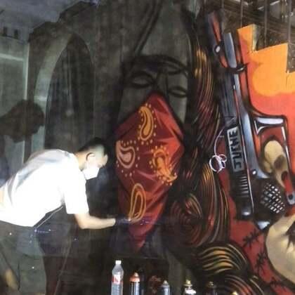 #涂鸦##graffiti#涂在金华第二天,橱窗展位。