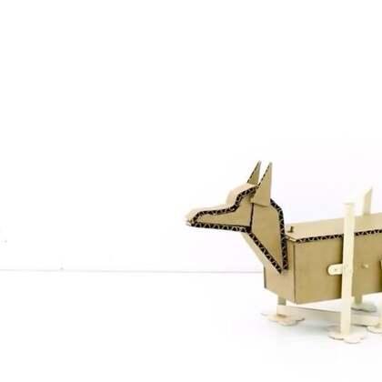 #手工#硬纸板做成的机械狗,走路的样子太逗了#玩具制作##机械狗#