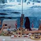 #美拍10秒电影##双胎姐妹欢欢乐乐##宝宝#(七岁半)#i like 美食#,企鹅陪我吃大餐🤟🤟😋😋