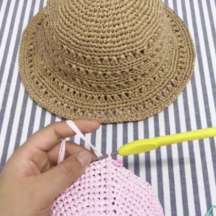 夏季镂空遮阳帽教程-9@美拍小助手 #手工#