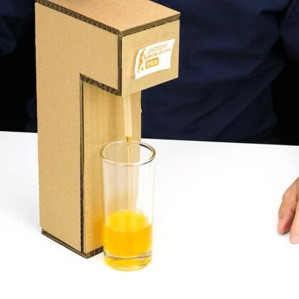 #手工#自制的简易饮料机,好玩又好喝#纸盒饮料机##手工diy#