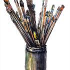 钢笔淡彩~速写有货的笔筒~