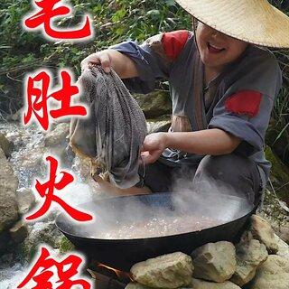 小伙自制毛肚火锅,边撕边煮,爽脆可口,这味道绝了#美食#