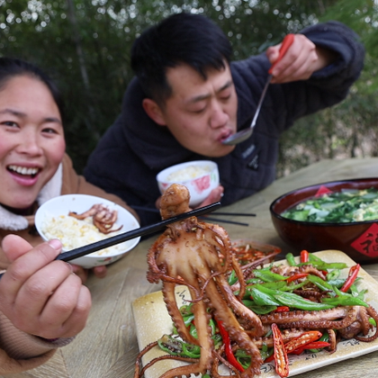 老公在家失业1年,胖妹做道炒鱿鱼来暗示,大洋:这饭吃得不香了#美食##吃秀##美食教程#