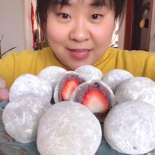 #美食##吃秀#家常版的草莓大福,简单又好吃,你值得拥有✌️😄✌️