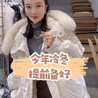 韩国贸易订单!!!#热门#羽绒服!!!!90绒大皮草毛领!闭眼入!#秋冬款新上市#