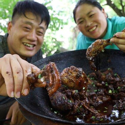 老公嘴馋,胖妹70买5斤麻鸭,铁锅一炖,2人嘴角流油啃过瘾#美食##胖妹##吃货#